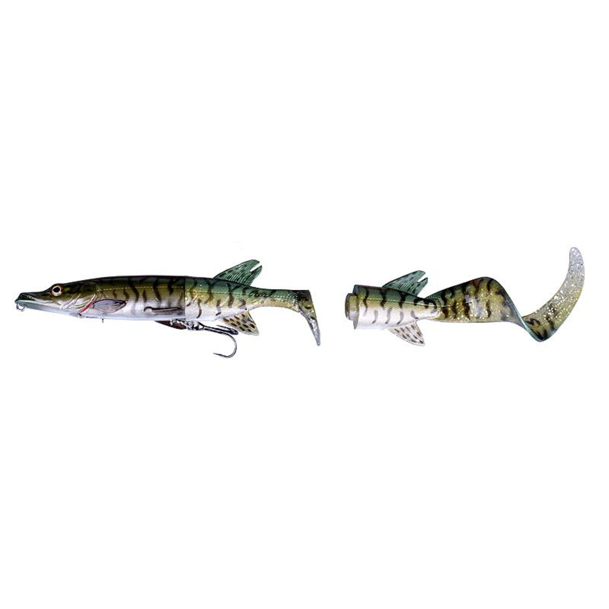 Savage Gear 3D Hybrid Pike Spare Tail Kit - 17 cm - 07 - Green Silver Pike